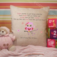 Personalised Cream Chenille Cushion - Owl Quote