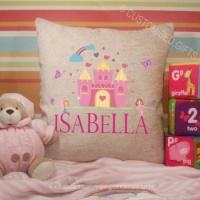 Personalised Cream Chenille Cushion - Fairy Name