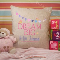 Personalised Cream Chenille Cushion - Dream Big