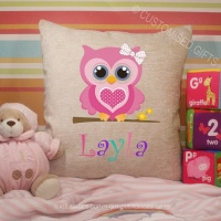 Personalised Cream Chenille Cushion - Owl Name