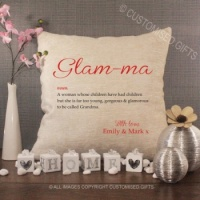 Personalised Cream Chenille Cushion - Glam - ma