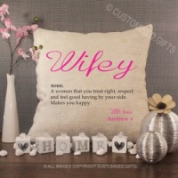 Personalised Cream Chenille Cushion - Wifey