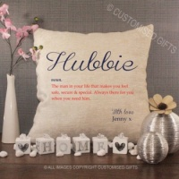 Personalised Cream Chenille Cushion - Hubbie
