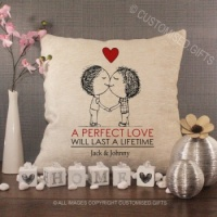 Personalised Cream Chenille Cushion - A Perfect Love 2 men