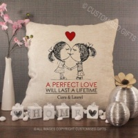 Personalised Cream Chenille Cushion - A Perfect Love 2 girls