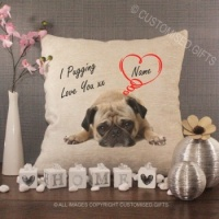 Personalised Cream Chenille Cushion - I Pugging Love You