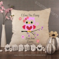 Personalised Cream Chenille Cushion - Owl