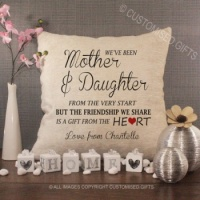 Personalised Cream Chenille Cushion - Mother and Daughter