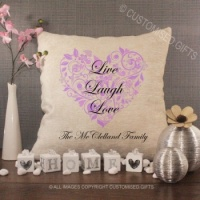 Personalised Cream Chenille Cushion - Live Laugh Love Cushion