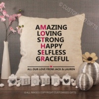 Personalised Cream Chenille Cushion - Amazing Mother