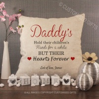 Personalised Cream Chenille Cushion - Daddy's Hold their Children's Hands