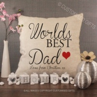 Personalised Cream Chenille Cushion - World's Best Dad