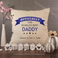 Personalised Cream Chenille Cushion - Officially the World's Best Daddy