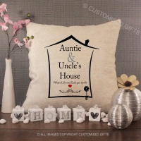 Personalised Cream Chenille Cushion - Auntie & Uncle's House