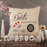 Personalised Cream Chenille Cushion - Best Darts Player