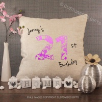 Personalised Cream Chenille Cushion - Birthday Number