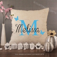 Personalised Cream Chenille Cushion - Butterfly Initial