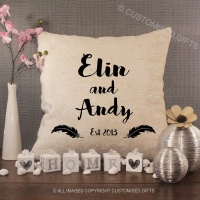 Personalised Cream Chenille Cushion - Feathers