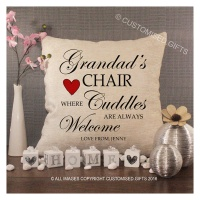 Personalised Cream Chenille Cushion - Grandads Chair