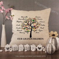 Personalised Cream Chenille Cushion - Family Tree Grandchildren