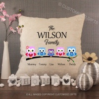 Personalised Cream Chenille Cushion - Owl Family
