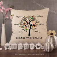 Personalised Cream Chenille Cushion - Family Tree Autumn