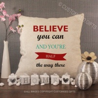 Cream Chenille Cushion - Believe You can
