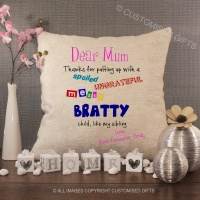 Personalised Cream Chenille Cushion - Dear Mum