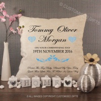 Personalised Cream Chenille Cushion - Blue Christening