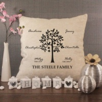 Personalised Cream Chenille Cushion - Family Tree