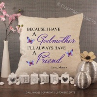 Personalised Cream Chenille Cushion - Godmother Friend