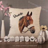 Personalised Cream Chenille Cushion - Horse Add any name