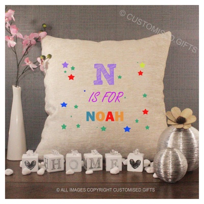 Luxury Personalised Cushion - Inner Pad Included - Initial & Name