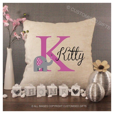 Luxury Personalised Cushion - Inner Pad Included - Initial & Elephant