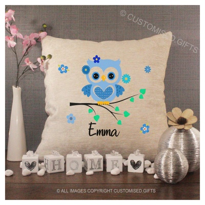 Luxury Personalised Cushion - Inner Pad Included - Blue Owl & Name