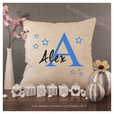 Luxury Personalised Cushion - Inner Pad Included - Boys Initial & Stars