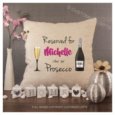 Luxury Personalised Cushion - Inner Pad Included - Reserved Prosecco