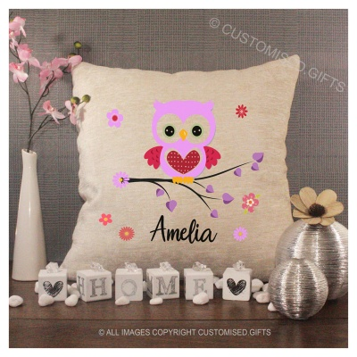 Luxury Personalised Cushion - Inner Pad Included - Pink Owl & Name