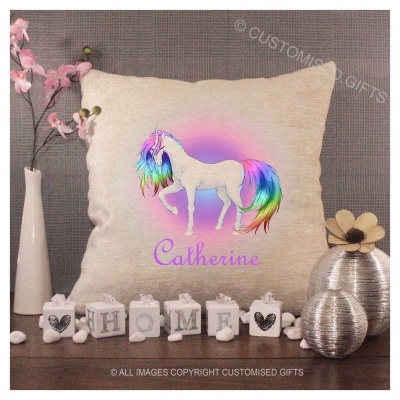Luxury Personalised Cushion - Inner Pad Included - Unicorn