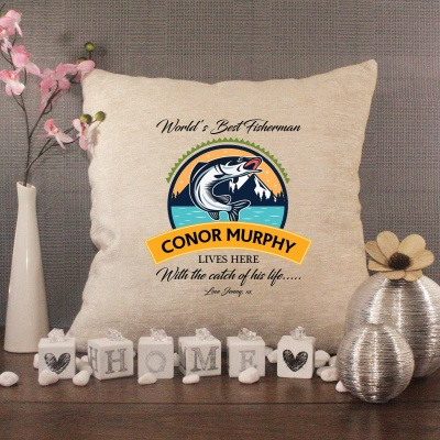Luxury Personalised Cushion - Inner Pad Included - Fishing