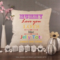 Personalised Cream Chenille Cushion - Jelly Tots