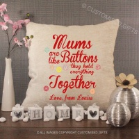 Personalised Cream Chenille Cushion - Mums Are Like Buttons