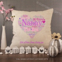 Personalised Cream Chenille Cushion - Nanny