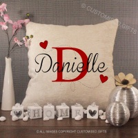 Personalised Cream Chenille Cushion - Heart Initial