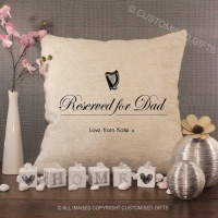 Personalised Cream Chenille Cushion - Reserved for Dad