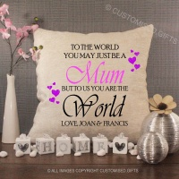 Personalised Cream Chenille Cushion - To the World you May just be a Mum