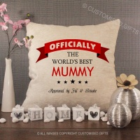 Personalised Cream Chenille Cushion - Officially The World's Best Mummy